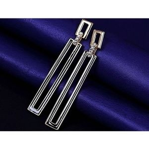 Long Silver Geometric rectangle Earrings